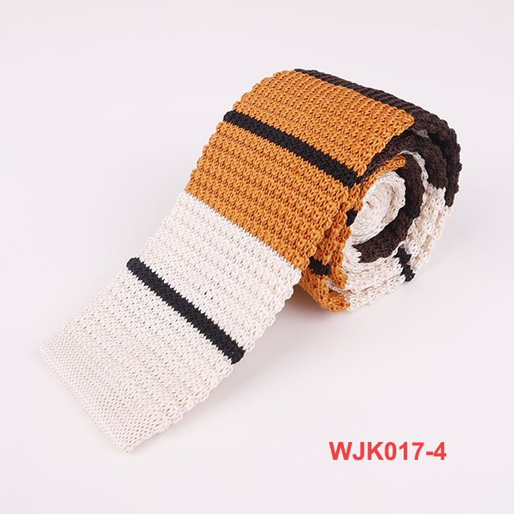 Hot Sale Yellow Stripe Polyester Knitted Neck Mens Ties