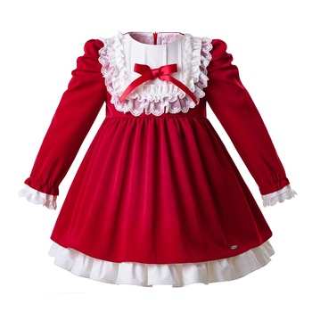 Pettigirl 2020 Dress Girl Kids Red Long Sleeve Lace Girls Dresses 8 Year Wholesale Girls Spanish Dresses with Bow