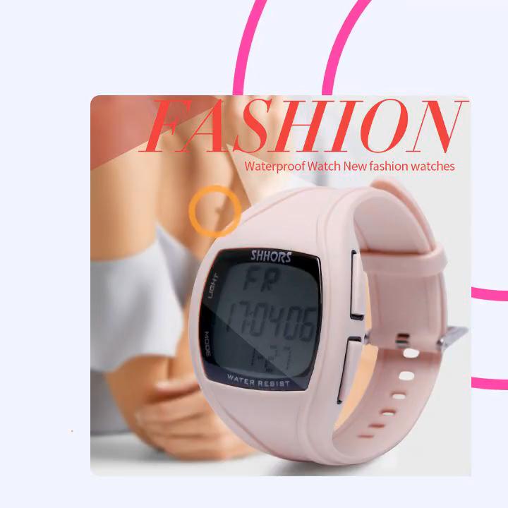 Shhors montre chronographe d'alarme 3ATM résistant à l'eau montre-bracelet nouvelle mode montre numérique 0270