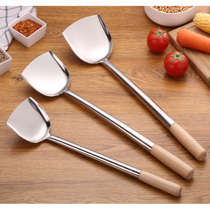 Best-selling restaurant stainless steel cooking tools  with wooden handle spatula