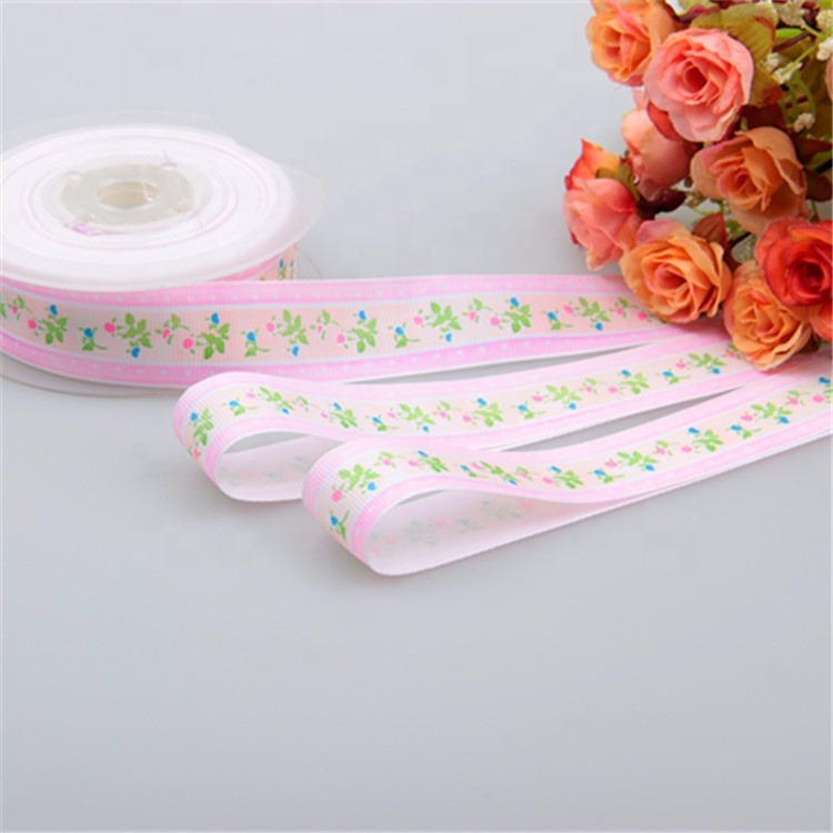 Custom Logo Printoing Cotton Grosgrain ribbon Roll