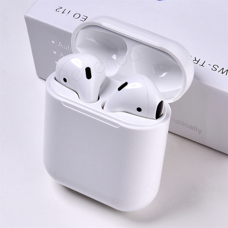 Hot selling twins touch i12 V5.0 TWS stereo earbuds i12 tws earphone i12 headphone with charging case wireless charging TWS
