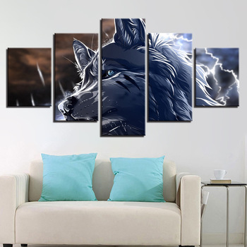 Wolf Painted In Canvas 5 Pieces Modern Landscape, Poster And Print Wolf Picture Wall Art Deco Wood Frame