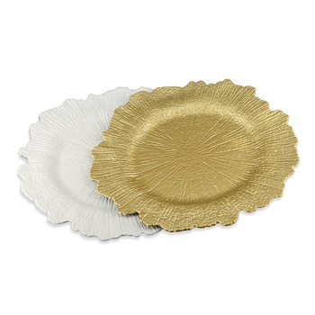 Factory Wholesale Bulk Custom Color Round Gold Cristal Flora Plastic Charger Plates with Reef Rim