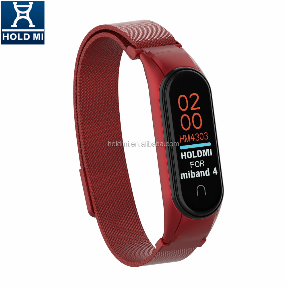 NEW HOLDMI ODM 43036 series china red color milanese watch band strap for xiaomi band 4 & 3