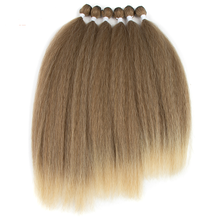 22/24/26Inch Synthetische <span class=keywords><strong>Hair</strong></span> Extensions Yaki Steil Haar Bundels Ombre Bruin <span class=keywords><strong>Kinky</strong></span> Krullend Haar Bundels