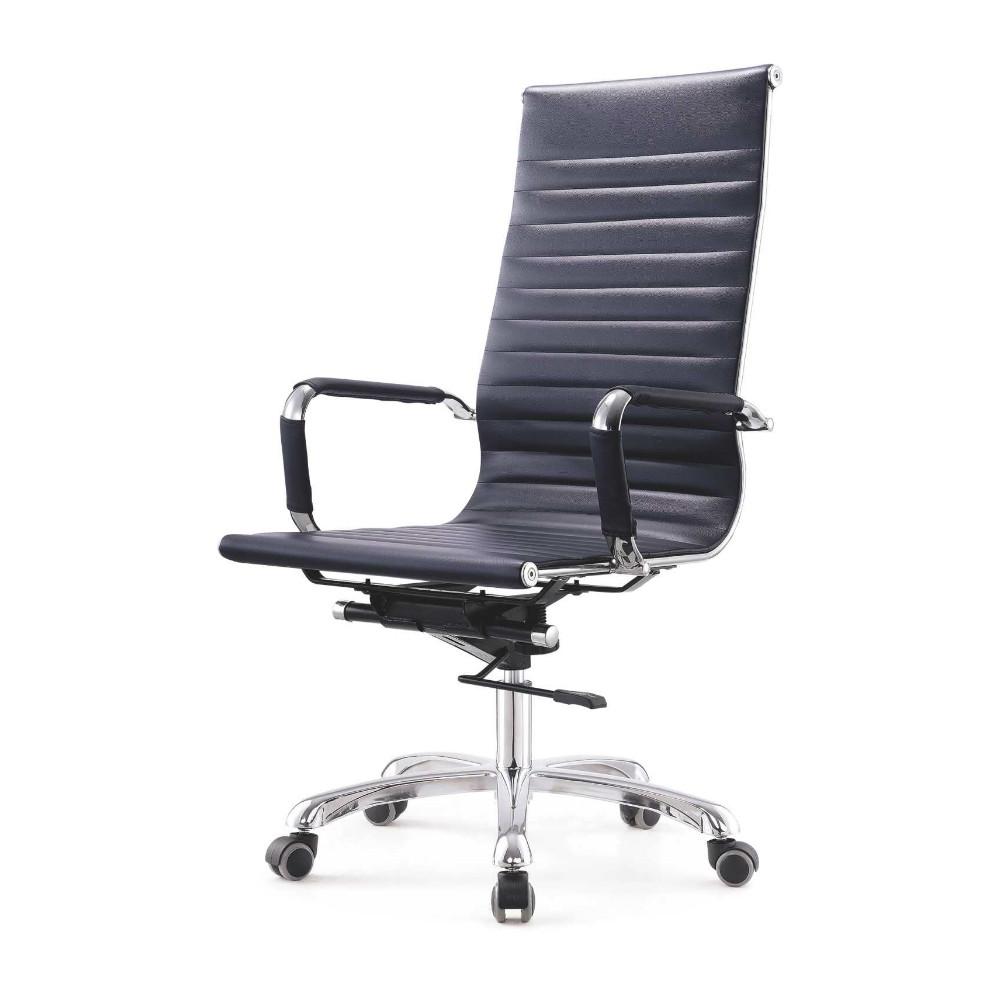 Fauteuil de bureau noir pivotant à dossier haut en cuir polyuréthane avec accoudoir réglable en hauteur ascenseur fauteuil de bureau exécutif