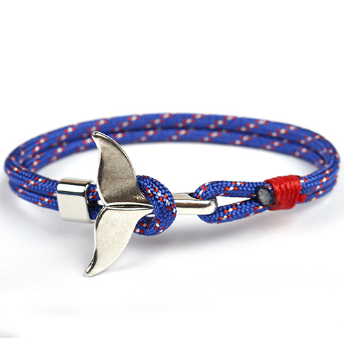 SAF 2020 Hot style handcrafted leather charm bracelets anchor braided rope whale tail bracelet