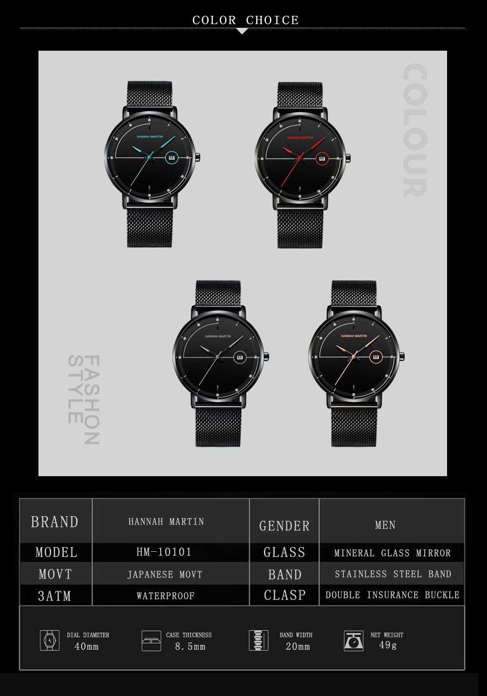 factory hannah martin colorful fashion japan movt quartz man business your logo custom classic designer calendar men watches
