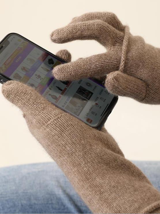 screen touch Women Winter Warm Knitted Gloves mittens full finger Cashmere Glove fingerless mitten one set