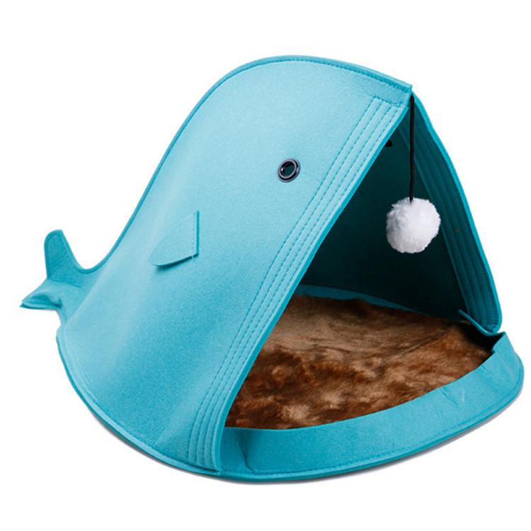 New Fashion Cute Foldable Cat Bed Felt Materials Shark Whale Felt Pet Cat House