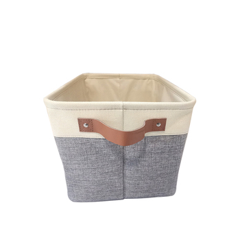 Toy Foldable Storage Box Linen Clothes Organizer Fabric Basket Storage With Leather Handles