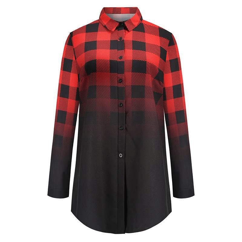 2020 new arrivals Custom logo <strong>cotton</strong> plaid long sleeve women <strong>ladies</strong> sample western <strong>blouse</strong>