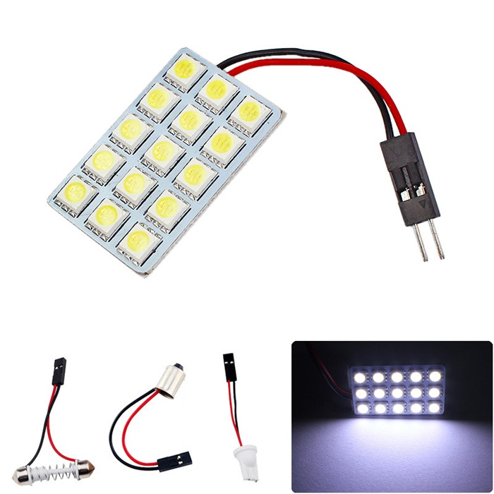 12V 15 LED Mobil Bohlam SMD 5050 Dome Interior Readingled Panel Cahaya