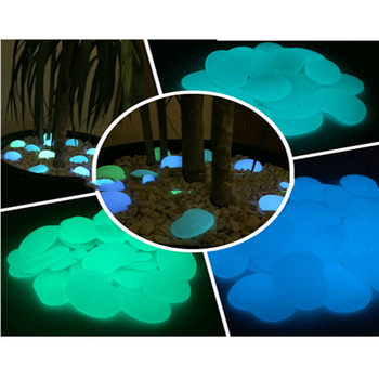 Blue and green color glow pebble stone in dark for home decoration