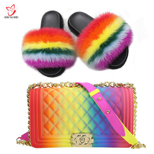 Wholesale Custom Fur Slides with Purse Set Jelly Bag Flush Real Soft Raccoon Slippers and Bag Outdoor Slider Sandals