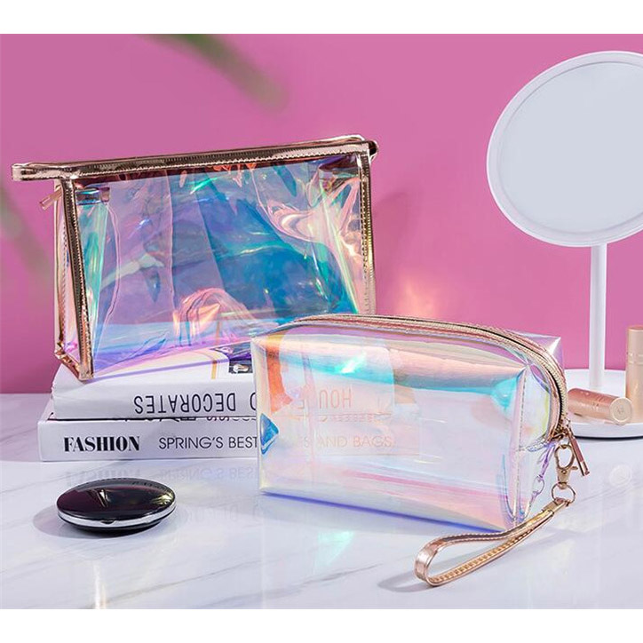 product-GF bags-2020 new 1 Pc Colorful Holographic Women Cosmetic Bag TPU Clear Makeup Bag Beauty Or