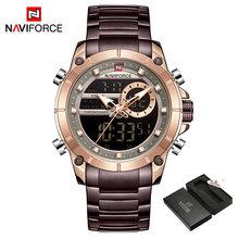 NAVIFORCE новые спортивные мужские часы Топ люксовый бренд кварцевые наручные часы для мужчин водонепроницаемые двойной дисплей дата часы Relogio ...(China)