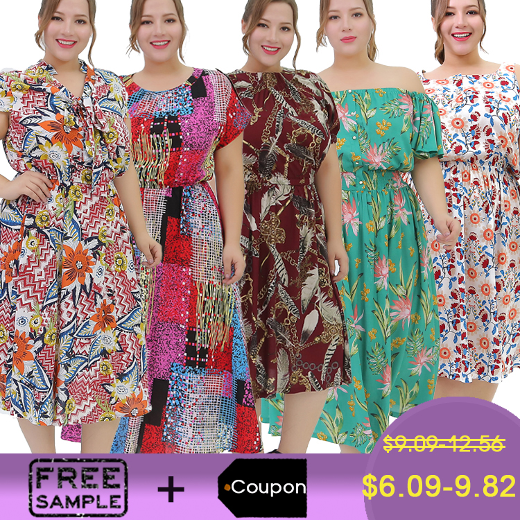 Boutique Dress Hawaii Print Midi Fashion Fat Ladies Big Size Summer Casual  Dress Plus Size Women Dresses - Buy Women Plus Size Dresses,Big Size Ladies  ...