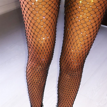 Crystal Rhinestones Diamonds Sexy Tunic Pants Women Long Bottoms Mesh Hollow Out Transparent Beach Club Party Trousers