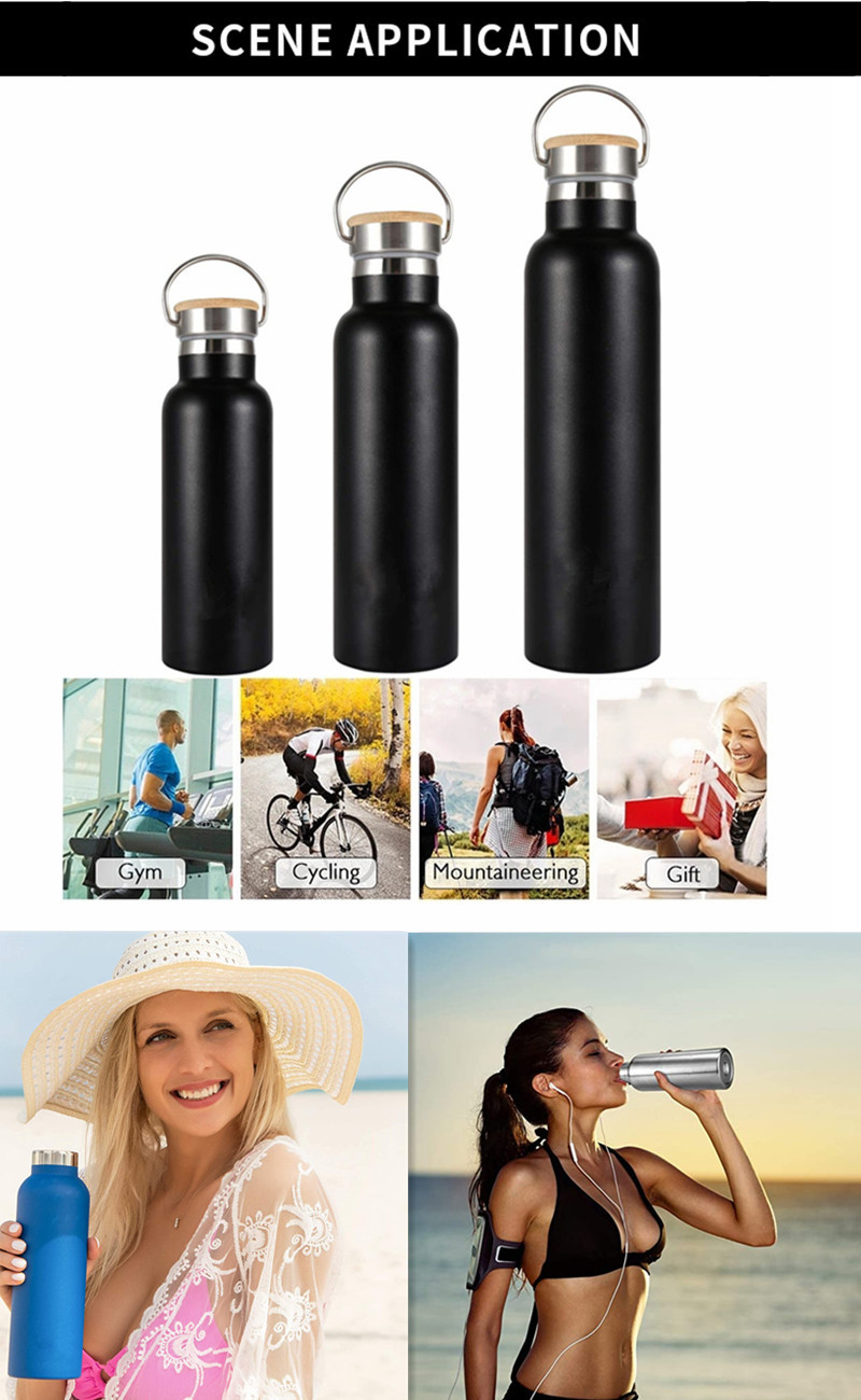 Custom 500ML 800ML Double Wall Vacuum Insulated Stainless Steel Water Bottles With Bamboo Lid
