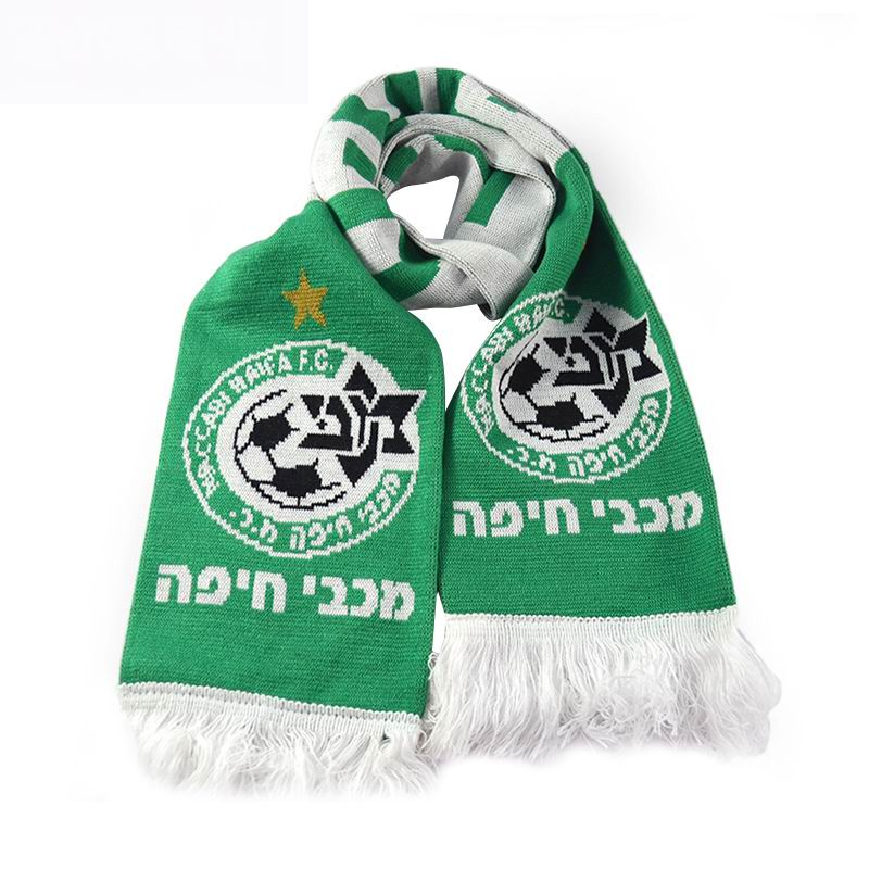 Wholesale 100% acrylic cashmere fans muti color striped knitted scarf with embroidery logo