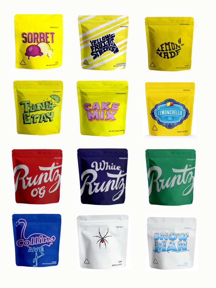 Bolsas transparentes de plástico para hierba con cremallera, milar, comestible, resistente al olor, color negro mate