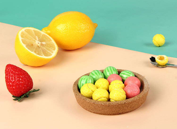 chinese mini ball shaped liquid filled bubble chewing gum lemon apple strawberry jam filling balls bubble gum