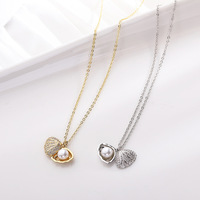 Fashion Jewelry Shell Pearl 925 Sliver Necklace For Valentine Day Gift