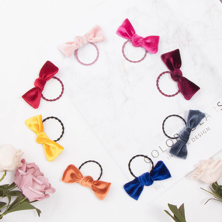 new gold velvet knotted solid color hair rope cute sweet baby girls rubber hair ties