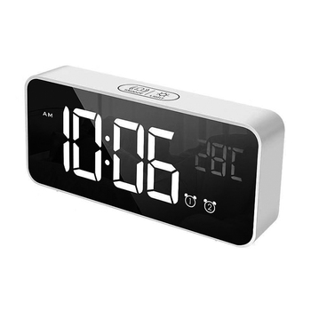 Rectangle Desktop Digital LED Mirror Alarm Clock with Temperature Display for Bedroom Kitchen Hotel Table Desk