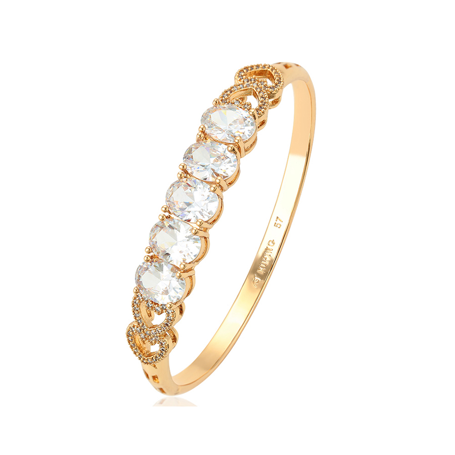 51879 Luxury women jewelry good quality artificial diamond 18k gold color bangle