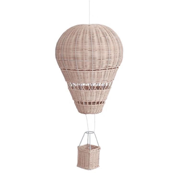 Kid room decor parete appeso a mano a maglia in rattan mestiere rattan air balloon