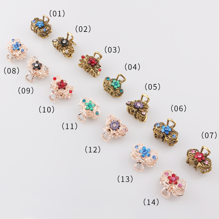 SAFJewelry 2020 Hot Selling Fashion Hairgrips Women Vintage Colorful Flowers Exquisite Hair Accessories Claws Clip