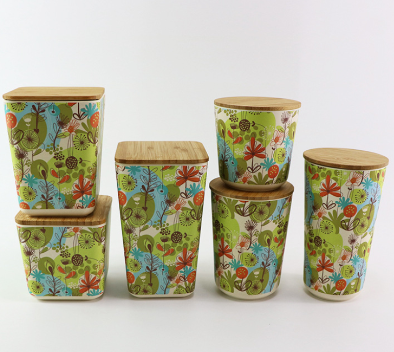 Customized Printing Kitchen Bamboo Fiber Food Storage Container Box With Airtight Bamboo Lid