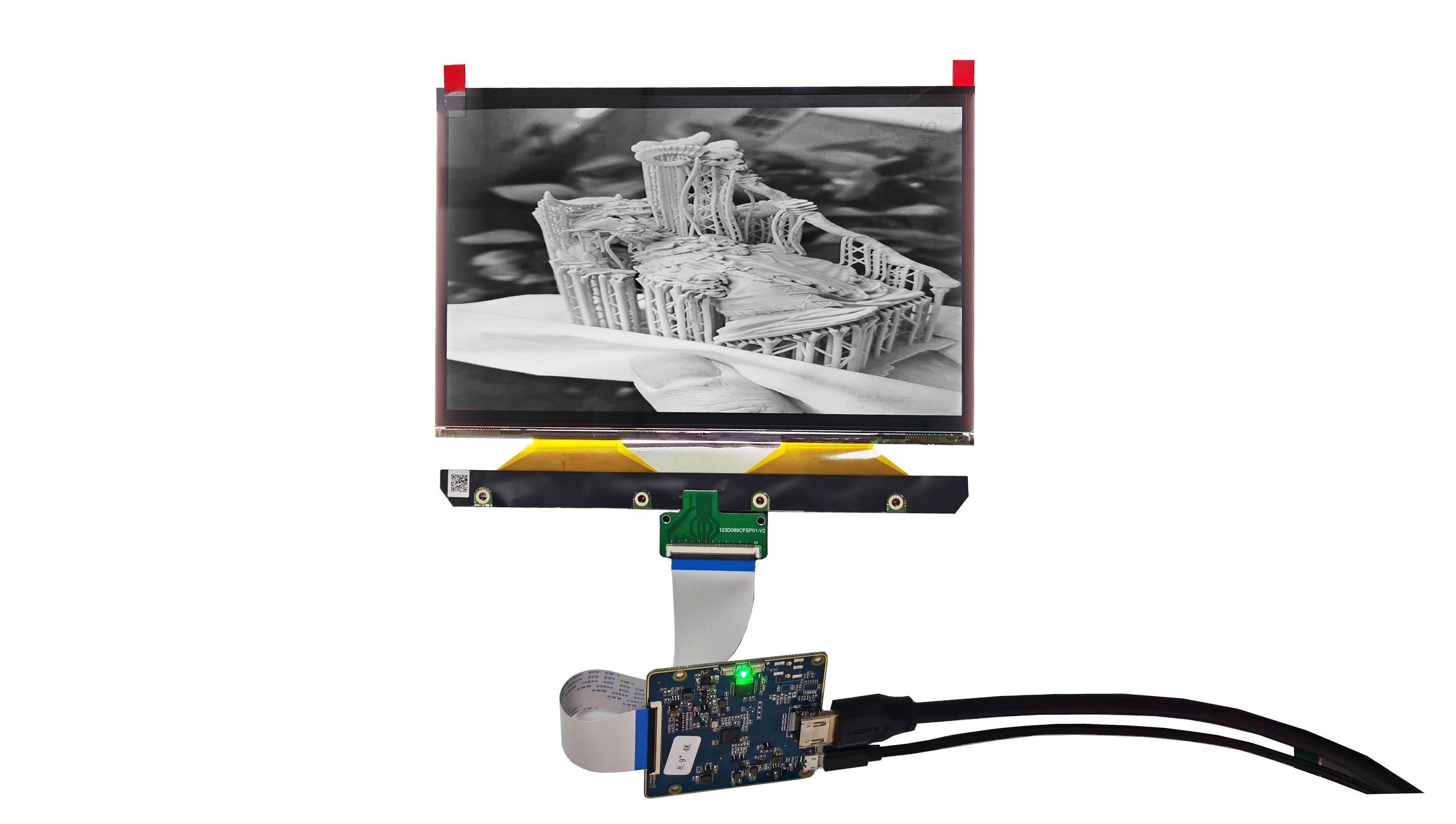 8.9 inch 4K 3840x2400 Monochrome LCD modules Raspberry Pi4