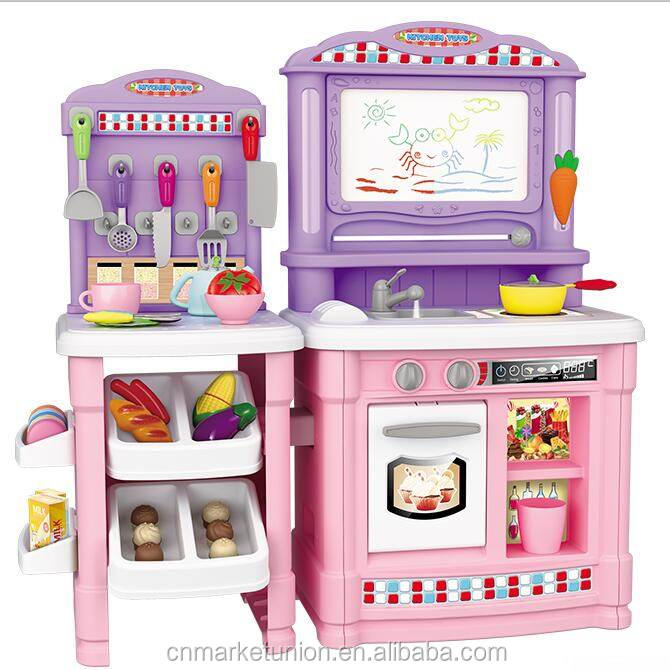 Magnetic Writing Board kids Plastic big pretend play Cooking Role Play Kitchen Toy Set for girls