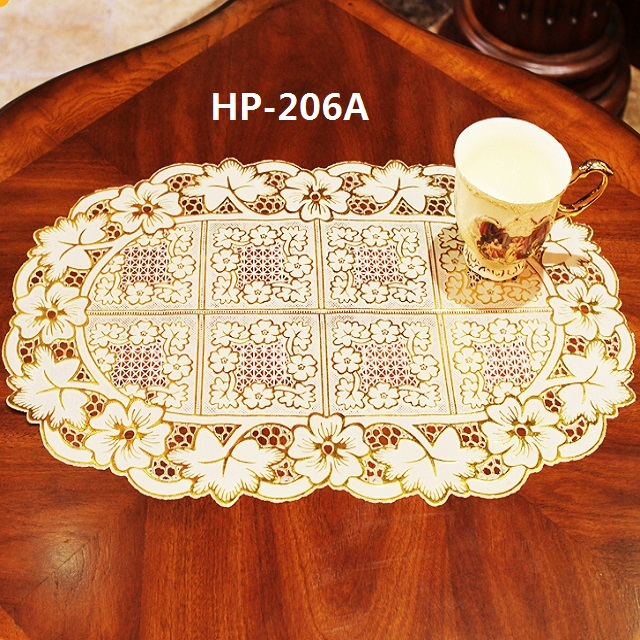 <strong>Oval</strong> <strong>vinyl</strong> PVC tablemat anti slip protective heat resistant decorative table plastic lace doilies <strong>placemat</strong> 30*46 cm