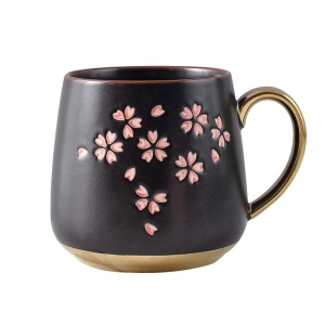 Japanese Style Cherry Blossoms Sakura Ceramic Coffee Milk Mug Cup With Gold Handle