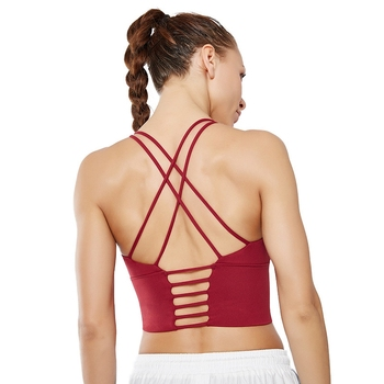Top selling new high impact training fitness clothing apparel sexy open back striped stretchy gym women yoga sports bra