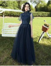 Платье подружки невесты, темно-синее Элегантное Длинное платье с аппликацией и высоким воротом, вечерние платья(Китай)