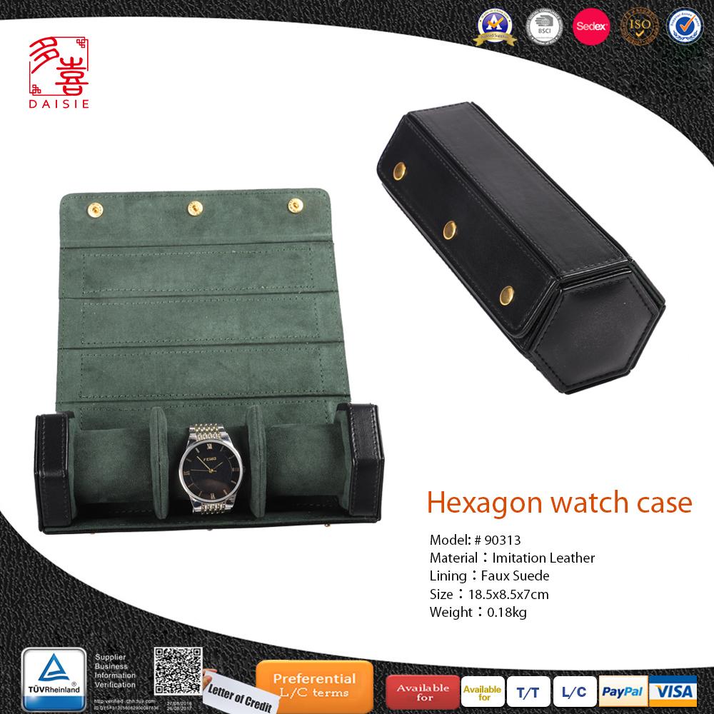 Custom Hexagon 3 slot Watch Roll Leather Box Mens Watches Travel Roll Leather Watch Box Wholesale
