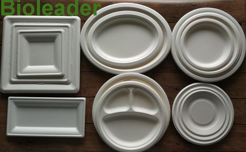 รูปไข่ compostable Dinner สีขาวแผ่น