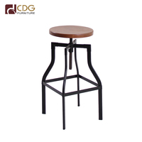 Low And High Wooden Round Seat Bar Chair Metal Footrest High Stool