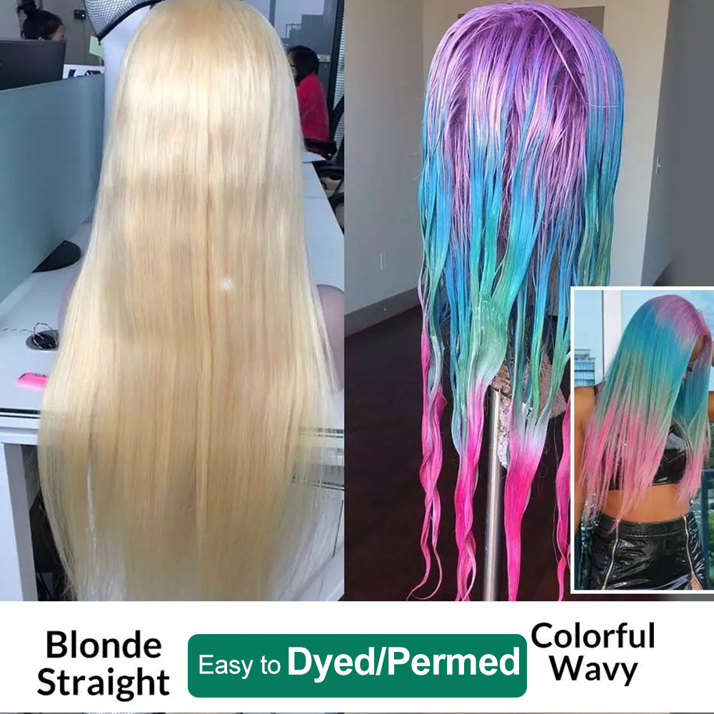 New 40 inch 613 full lace human hair wig pre plucked,613 cuticle aligned blonde front lace wigs for black women
