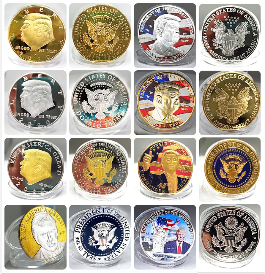 Cheap price Custom silver gold plated 2020 Donald trump souvenir coins