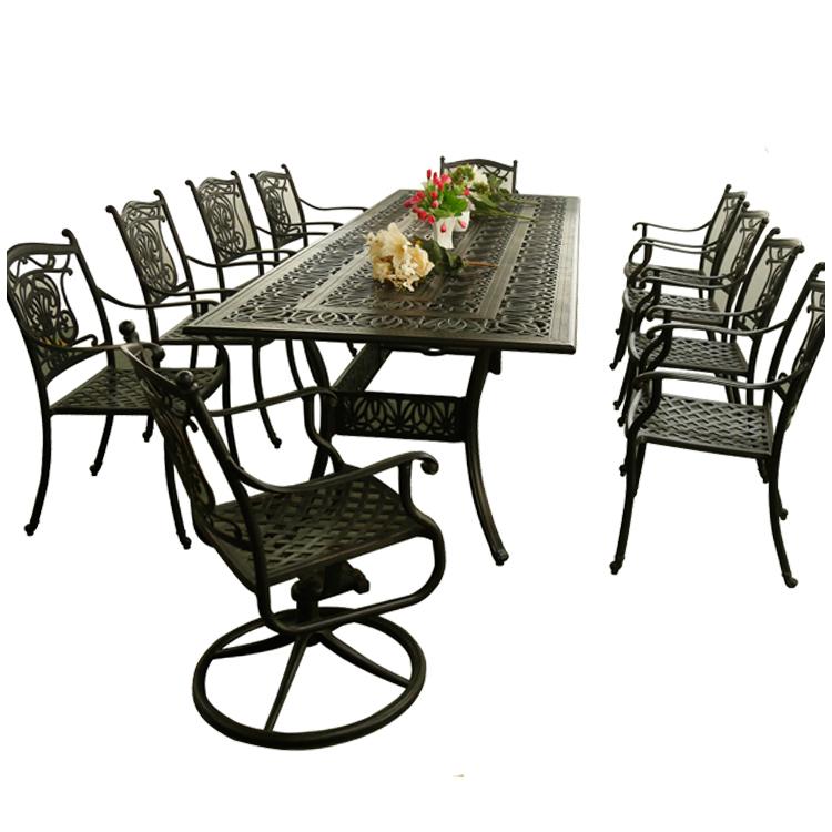 hotselling outdoor furniture Oval Cast Aluminium 6 Seater Patio Set