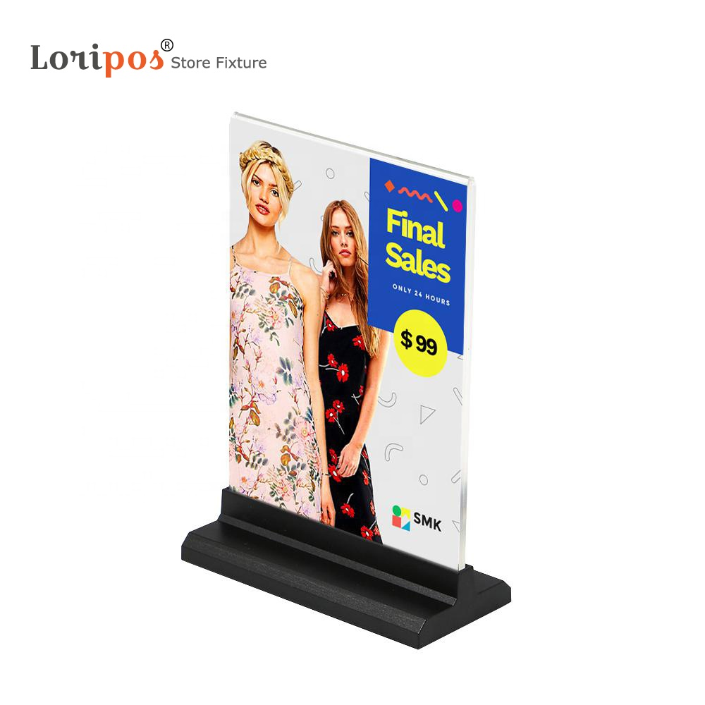Acrylic Photo Frame A6 10X20cm Label Holder Desk Sign Frame Menu <strong>Stand</strong> Advertising Poster Photo Frame A5 Picture Display Holder