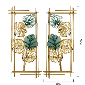 Gold Luxury Leaves Home living Room Cafe Rectangle Metal Wall Hanging Decor