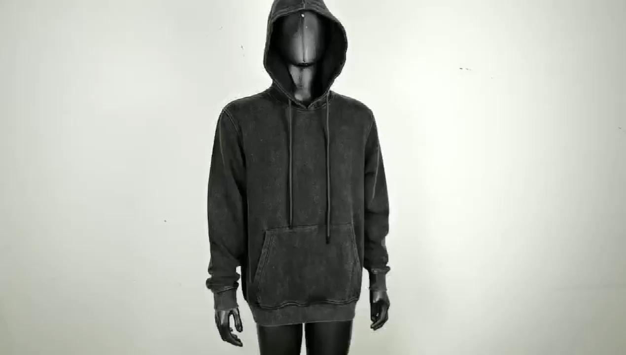 Personalizado Mens Hoodies Homem de Pedra Lavada com Ácido Lavado Algodão Moletom Com Capuz